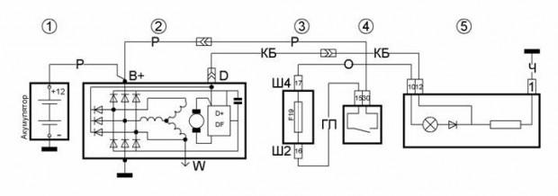 схема подключения аккумулятора к генератору